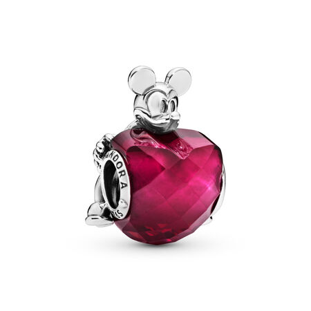Disney, Mickey Love Heart Charm, Fuchsia Rose Crystal