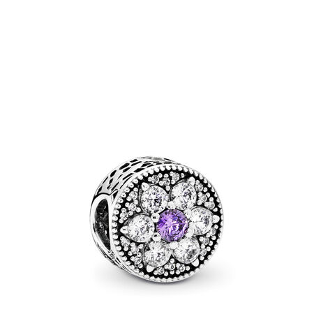 Forget Me Not, Purple & Clear CZ, Sterling silver, Purple, Cubic Zirconia - PANDORA - #791832ACZ