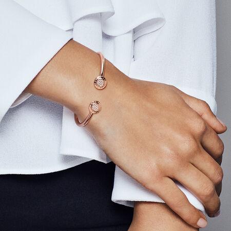 PANDORA Signature Open Bangle Bracelet, PANDORA Rose™