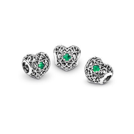 May Signature Heart, Royal Green Crystal, Sterling silver, Turquoise, Crystal - PANDORA - #791784NRG