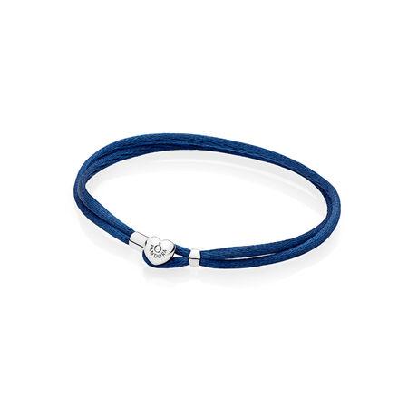 Fabric Cord Bracelet, Dark Blue, Sterling silver, Textile/ synthetical fibers, Blue - PANDORA - #590749CDB-S