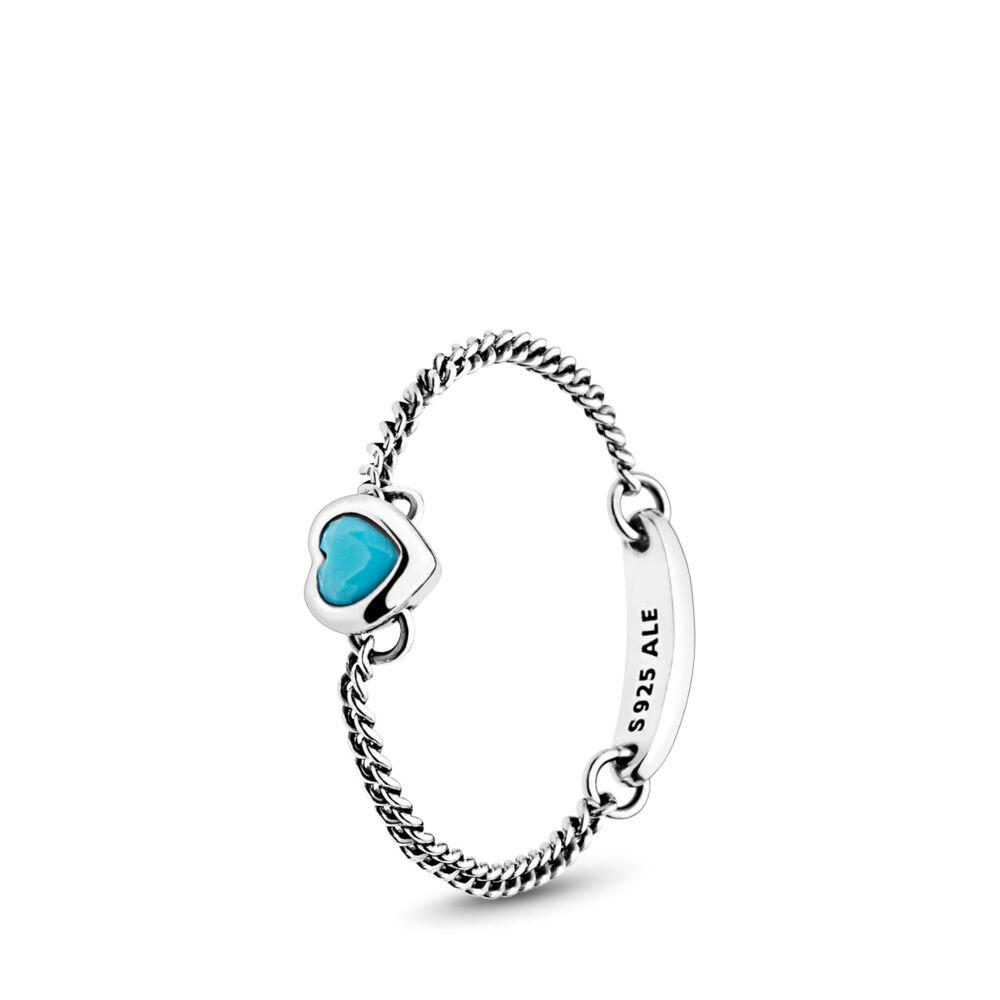 Spirited Heart Ring Cyan Blue Crystal