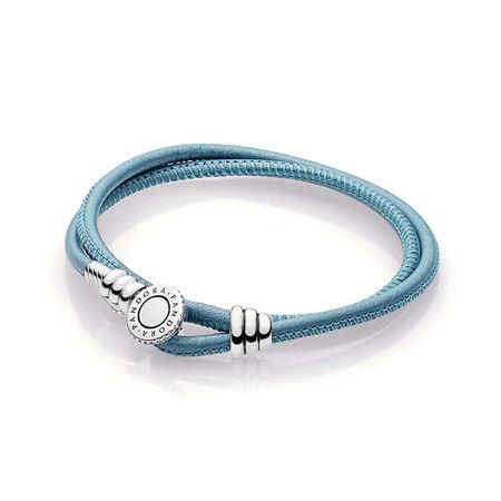 Double bracelet en cuir turquoise édition limitée, cz incolore