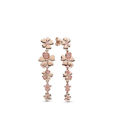 Wildflower Meadow Drop Earrings, PANDORA Rose™ & Blush Pink Crystals, PANDORA Rose, Pink, Mixed stones - PANDORA - #287114NPR