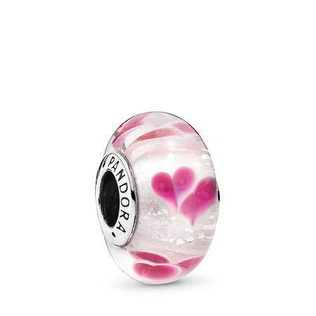 Cœurs nature, Argent sterling, Verre, Rose, Aucune pierre - PANDORA - #791649