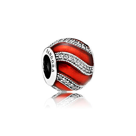 Adornment, Translucent Red Enamel & Clear CZ, Sterling silver, Enamel, Red, Cubic Zirconia - PANDORA - #791991EN07