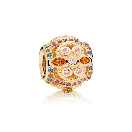 Colour Fresco Charm, 14K Gold & Multi-Coloured Crystals & Pink CZ