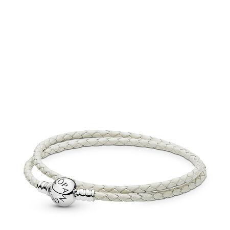 Cuir blanc d'ivoire, Argent sterling, Cuir, Blanc, Aucune pierre - PANDORA - #590745CIW-D