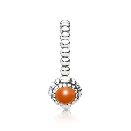Silver ring, birthstone-July, carnelian