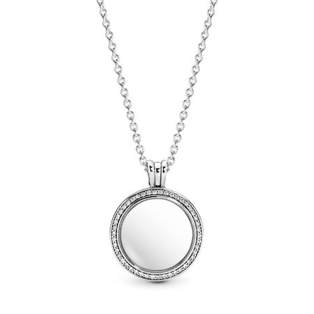 Pandora Floating Lockets Sparkling Necklace, Sterling silver, Glass, Cubic Zirconia - PANDORA - #396484CZ-60