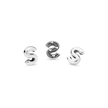 Letter S Petite Charm, Sterling silver - PANDORA - #797337
