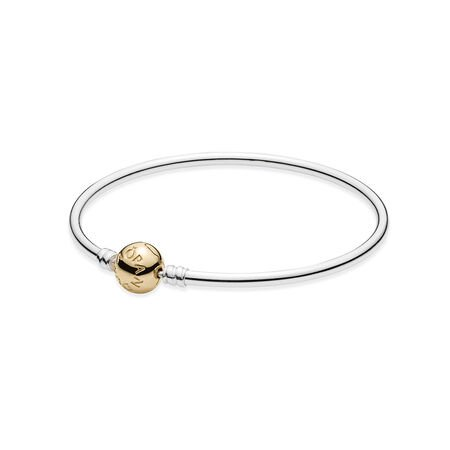 Silver Bangle Charm Bracelet With 14k Gold Clasp