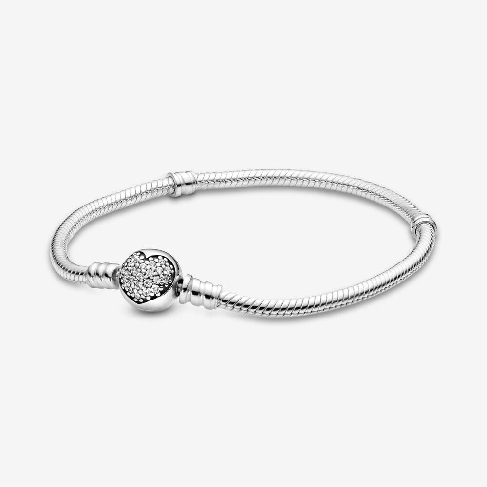 Bracelet à fermoir en cœur scintillant et à chaîne serpentine ...