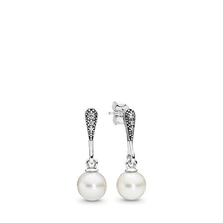 Elegant Beauty, White Pearl & Clear CZ, Sterling silver, White, Mixed stones - PANDORA - #290733P