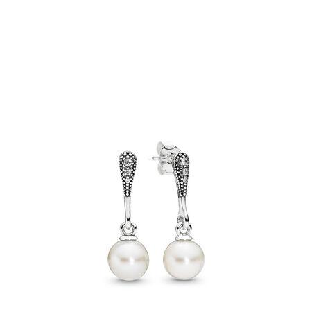 Elegant Beauty, White Pearl & Clear CZ