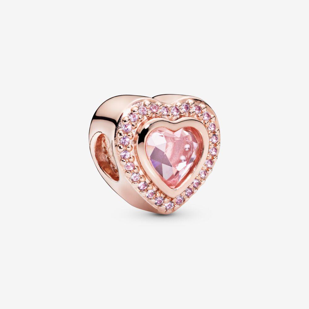 charm pandora coeur or rose
