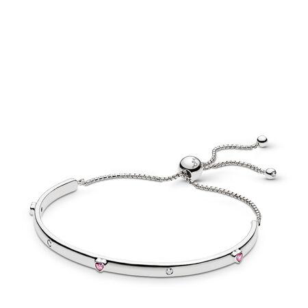 Bracelet Explosion d'amour, cz rose fuchsia fantaisie et incolore, Argent sterling, Silicone, Rose, Zircon cubique - PANDORA - #596585FPC-1