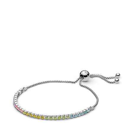 Multi-colour Sparkling Strand Bracelet, Multi-coloured CZ