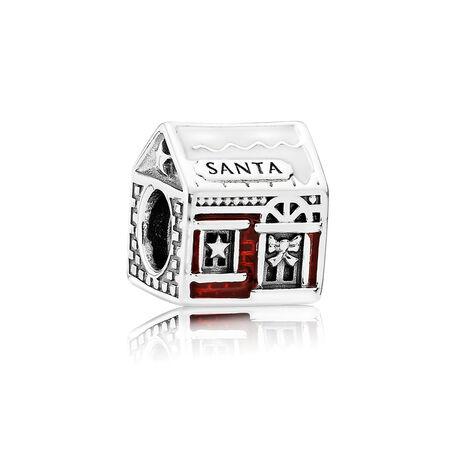 Maison du père Noël, émail blanc et rouge transparent