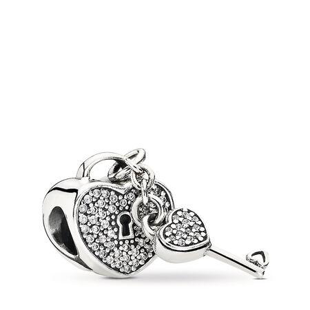 Lock Of Love, Clear CZ, Sterling silver, Cubic Zirconia - PANDORA - #791429CZ