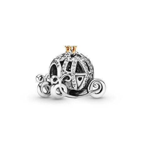 Disney, Cinderella's Pumpkin Coach Charm, Two Tone, Cubic Zirconia - PANDORA - #791573CZ
