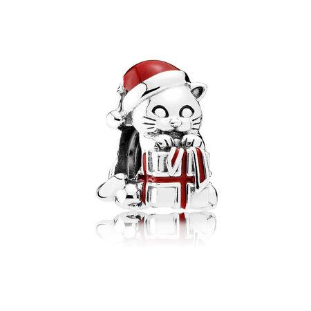 Chaton de Noël, émail rouge baie