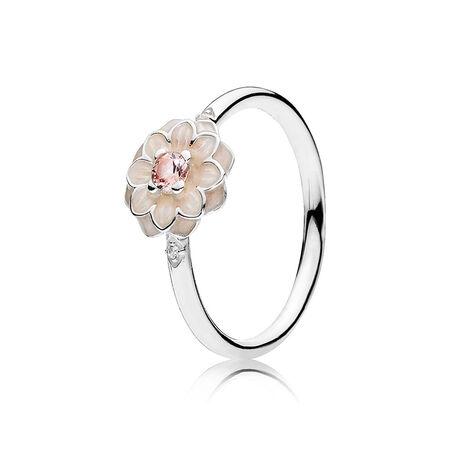 Dahlia en fleurs, émail ivoire, cz incolore et cristal blush
