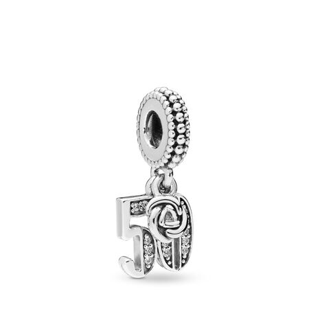 50 Years of Love Dangle Charm, Clear CZ, Sterling silver, Cubic Zirconia - PANDORA - #797264CZ