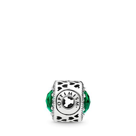 Charm OPTIMISME, cristaux vert royal et cz incolore, Argent sterling, Silicone, Vert, Pierres mélangées - PANDORA - #796440NRG