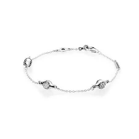 modern-lovepods-sterling-silver-bracelet,-clear-cz by pandora