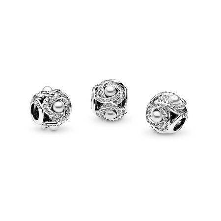 Nœud d'amour lumineux, perles de cristal blanches et cz incolore, Argent sterling, Aucun autre matériel, Blanc, Pierres mélangées - PANDORA - #792105WCP