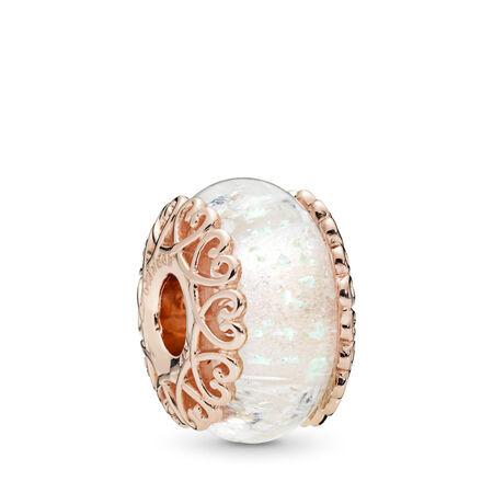 Charm en verre blanc iridescent, PANDORA Rose