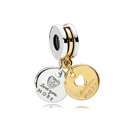 More & Most Love Dangle Charm, Clear CZ