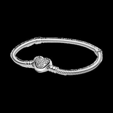 Bracelet à chaîne serpentine avec fermoir en forme de cœur Mickey Mouse Disney PandoraMoments