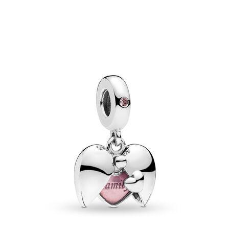 Charm pendentif Loquet familial, cristal rose et émail rose