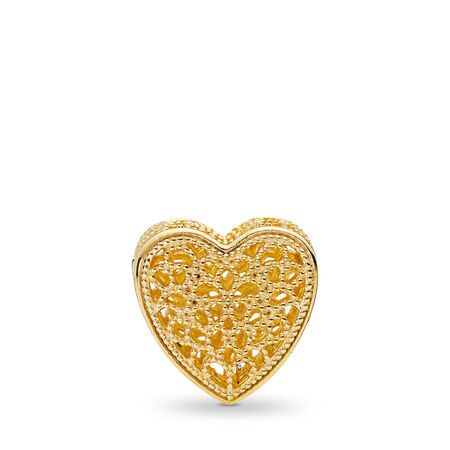 Filled with Romance Charm, PANDORA Shine™, 18ct gold-plated sterling silver - PANDORA - #767155