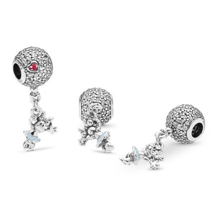 Disney, Floating Minnie Dangle Charm, Red & Clear CZ & Light Blue Enamel, Sterling silver, Enamel, Blue, Cubic Zirconia - PANDORA - #797171CZ