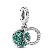 Charm-pendentif double Disque scintillant vert