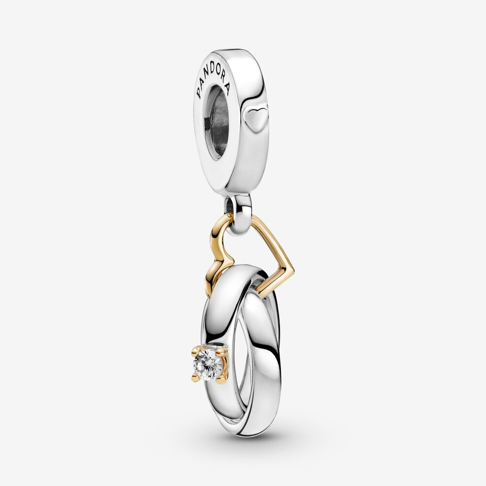 Two-tone Wedding Rings Dangle Charm | Two-tone | Pandora Canada