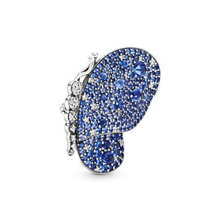 Pendentif-broche Papillon bleu éclatant