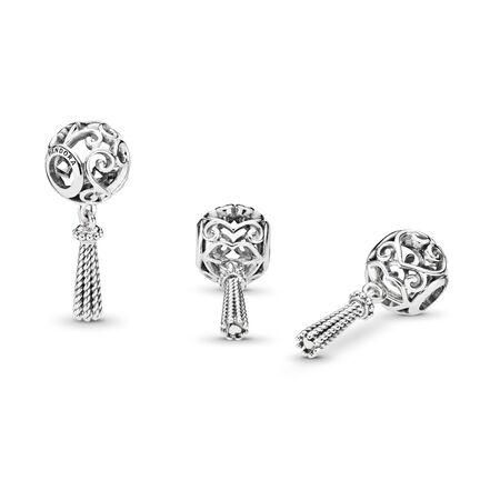 Enchanted Heart Tassel Charm, Sterling silver - PANDORA - #797037