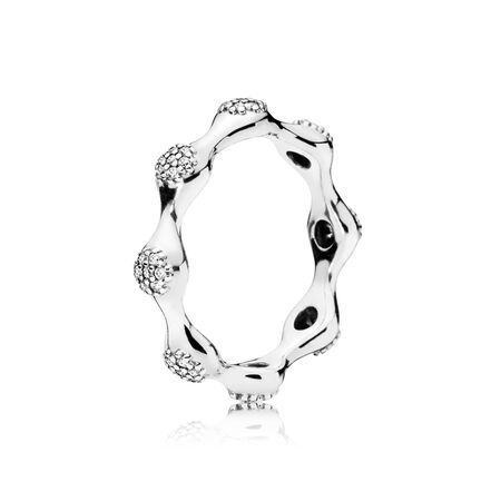 Modern LovePods™ Sterling Silver Ring, Clear CZ