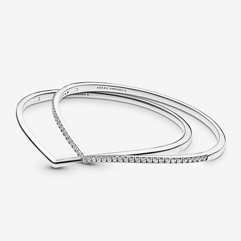Polished Wishbone Bracelet Stack