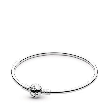Sterling Silver Charm Bangle Bracelet, Sterling silver - PANDORA - #590713