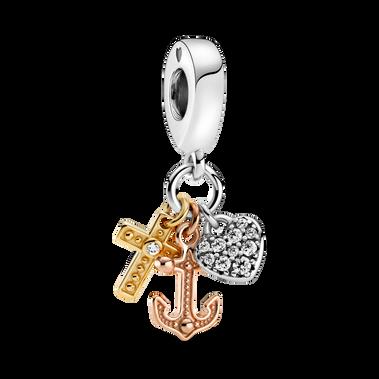 Charm-pendentif à trois tons Croix, cœur et ancre