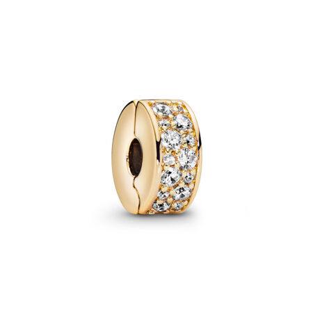 Shining Elegance Clip, PANDORA Shine™ & Clear CZ, 18ct gold-plated sterling silver, Silicone, Cubic Zirconia - PANDORA - #767164CZ