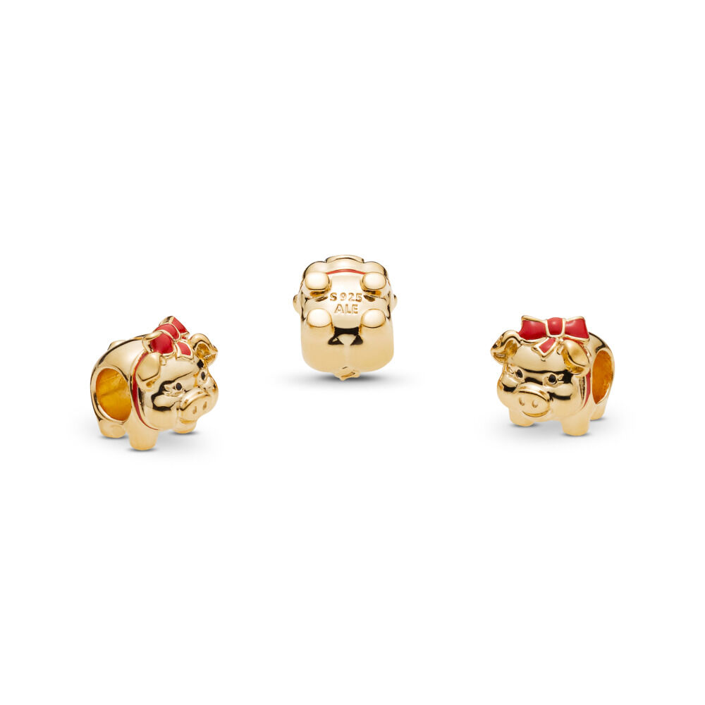 60cffec4c Piggy Bank, PANDORA Shine™, 18ct gold-plated sterling silver, Enamel,