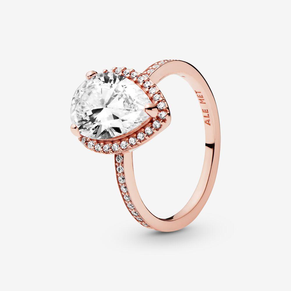 Sparkling Teardrop Halo Ring | Rose gold plated | Pandora Canada