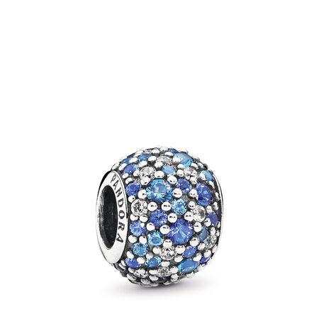 Mosaïque céleste, cristal bleu de Suisse et cz incolore