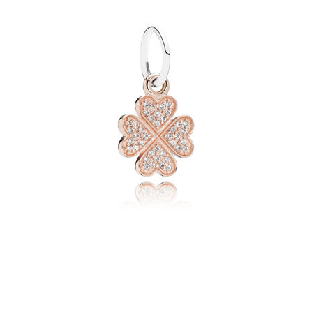 Symbol Of Lucky In Love, 14K Rose Gold & Clear CZ, Two-tone Rose Gold, Cubic Zirconia - PANDORA - #791355CZ